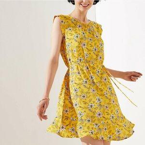 LOFT Garden Tie Waist Flounce Dress